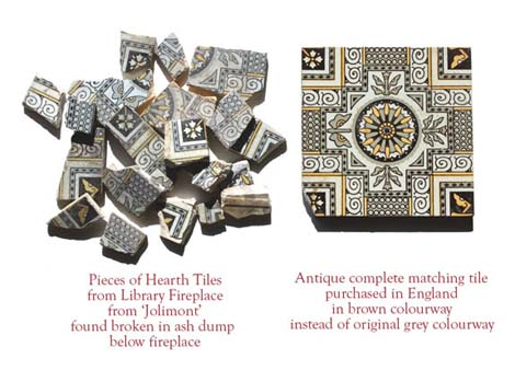The original hearth tiles were missing in 1984. While cleaning out the ash dump, many fragments of the original tiles were found, but no complete tiles. After piecing the fragments together, the original design was determined, but after 25 years of looking for matching tiles, only two were found, so other Victorian black and white tiles were used to complete the hearth in the Library. Below is how the hearth would have looked when original in 1892.