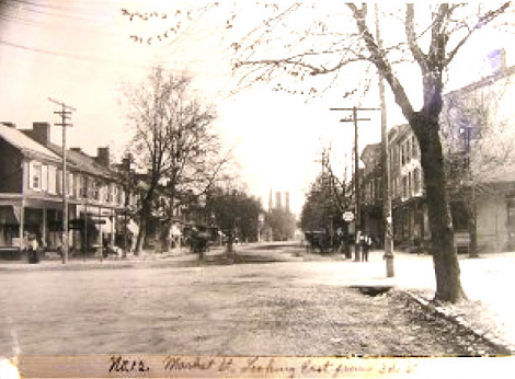 An early view of Market Street, looking east, Lewisburg, Pennsylvania. c1900.W.L. Donehower paint and wallpaper store was located on this street.(Image Courtesy Packwood House Museum)