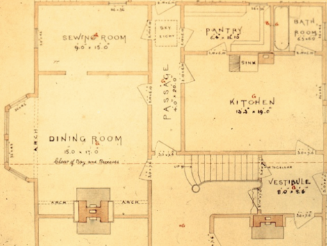 Plan of a house c1890. The kitchen shows only a sink as being a permanent installation.  The chimney beside the sink would be for the stove, and the bathroom behind was close to the stove for ease of providing hot water, and warm air for bathing. This bathroom had no toilet facilities: the house had an earth closet on the back porch for sanitary reasons. The pantry would do double duty for food storage and storage for dishes and other utensils.